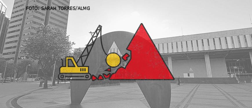 Ao fundo há uma foto da fachada da Assembleia Legislativa de Minas Gerais com destaque para o monumento que consiste em um triângulo vazado em um círculo de bronze. Sobre a foto, há a aplicação de uma ilustração de um trator amarelo demolindo o triângulo vermelho simbolizando Minas Gerais.