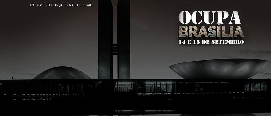 """Congresso Nacional em tons de cinza com os dizeres """"Ocupa Brasília, 14 e 15 de setembro""""."""
